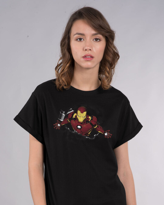 Shop Iron Man Burst Boyfriend T-Shirt (AVL)-Front