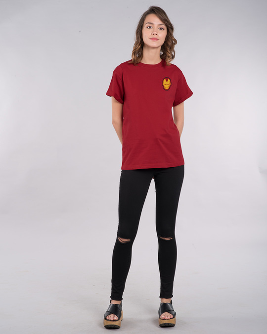 Shop Iron Man Printed Badge Boyfriend T-Shirt (AVL)