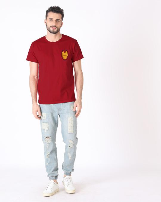 Shop Iron Man Printed Badge Half Sleeve T-Shirt (AVL)-Full