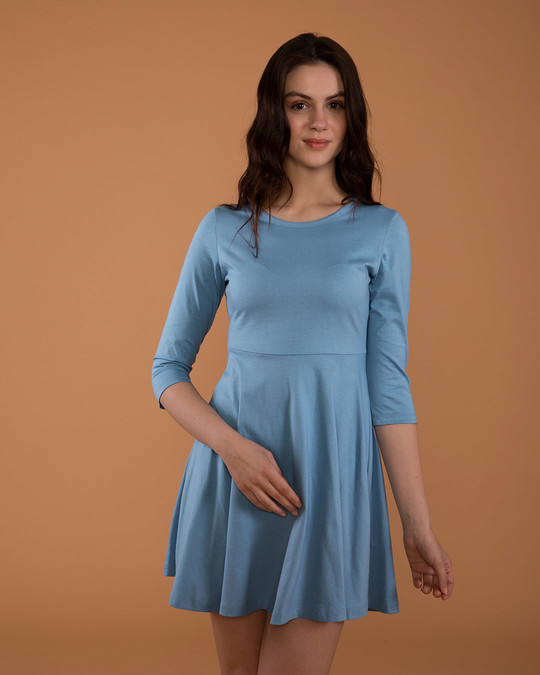 Shop Island Blue Flared Dress-Front