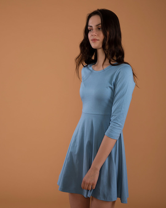 Shop Island Blue Flared Dress-Back