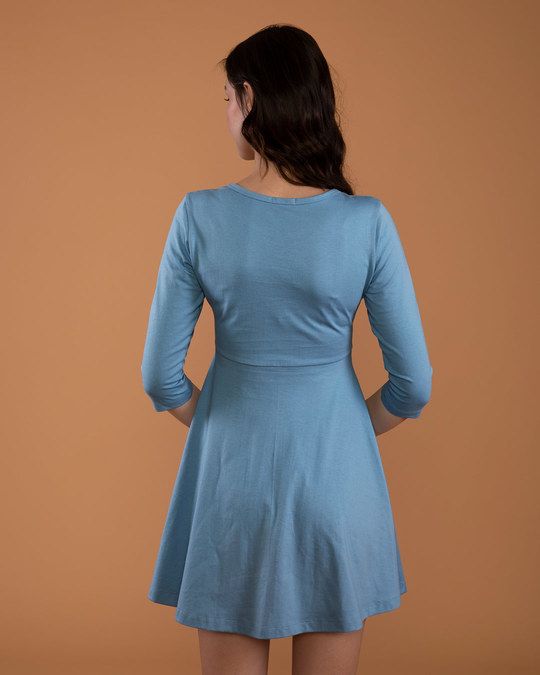 Shop Island Blue Flared Dress-Full