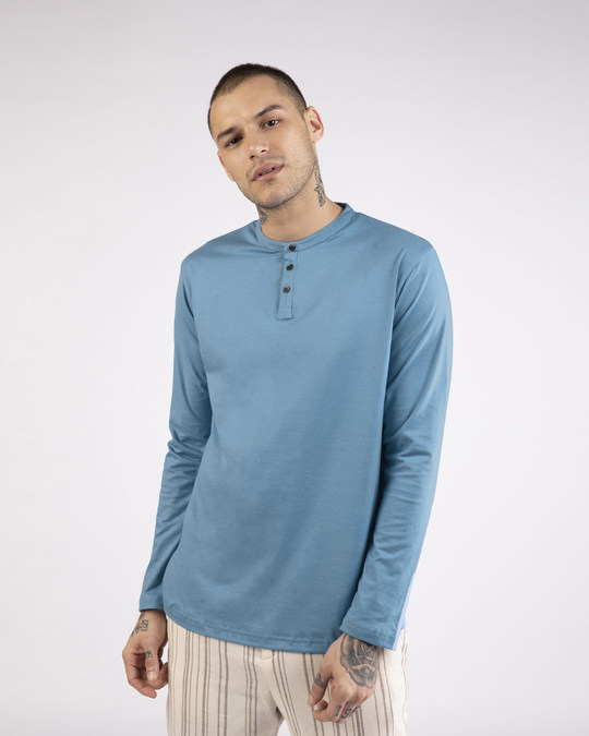 Shop Island Blue Full Sleeve Henley T-Shirt-Front