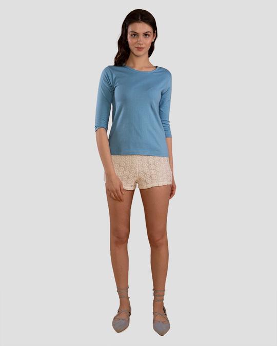 Shop Island Blue Round Neck 3/4th Sleeve T-Shirt