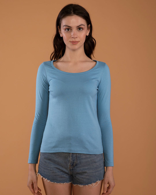Shop Island Blue Scoop Neck Full Sleeve T-Shirt-Front