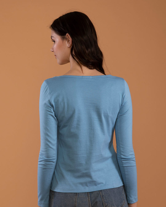 Shop Island Blue Scoop Neck Full Sleeve T-Shirt