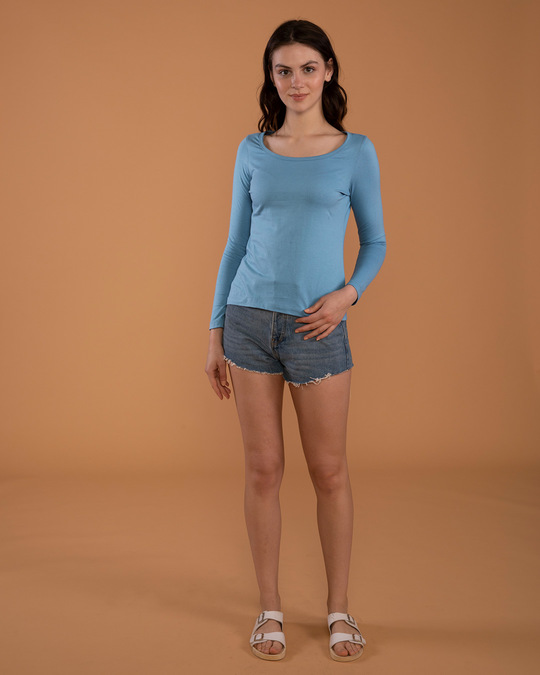 Shop Island Blue Scoop Neck Full Sleeve T-Shirt-Full