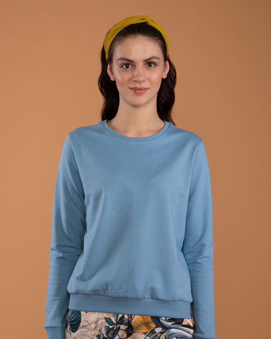 Shop Island Blue Fleece Sweater-Front
