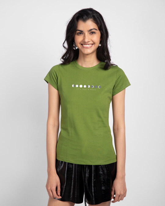 Shop It's Just A Phase Half Sleeve Printed T-Shirt Woodbine Green -Front