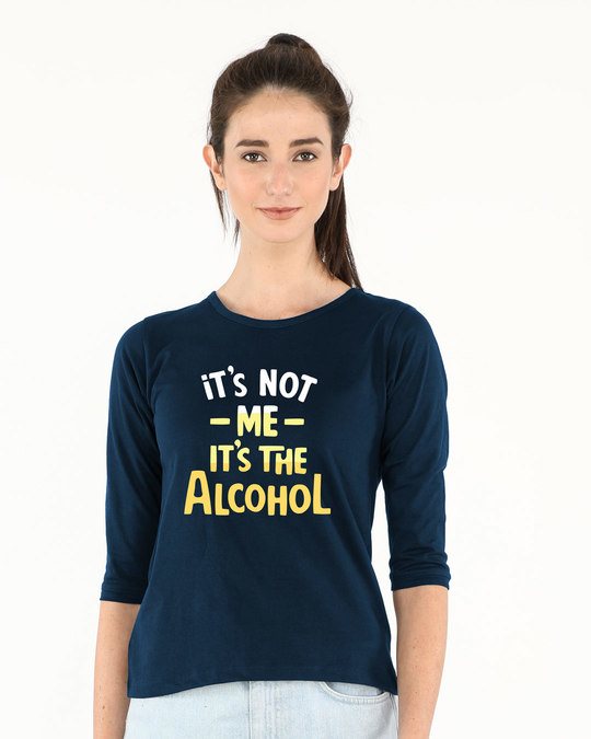 Shop It's The Alcohol Round Neck 3/4th Sleeve T-Shirt-Front