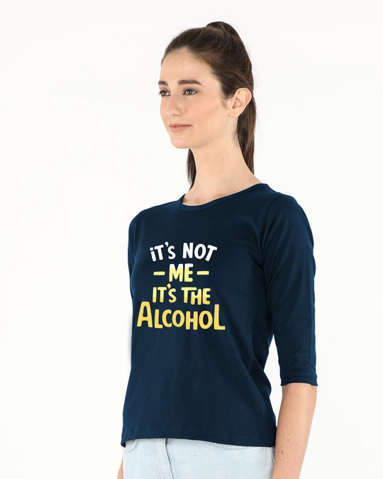 Shop It's The Alcohol Round Neck 3/4th Sleeve T-Shirt-Back