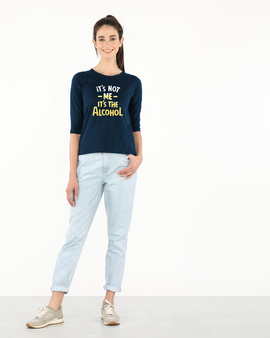 Shop It's The Alcohol Round Neck 3/4th Sleeve T-Shirt-Full