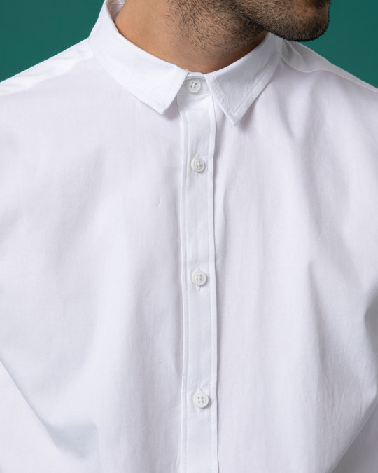 Shop Ivory White Slim Fit Oxford Full Sleeve Shirt