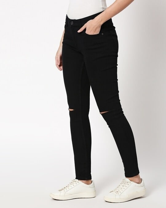 Shop Jade Black Distressed Mid Rise Stretchable Women's Jeans-Design