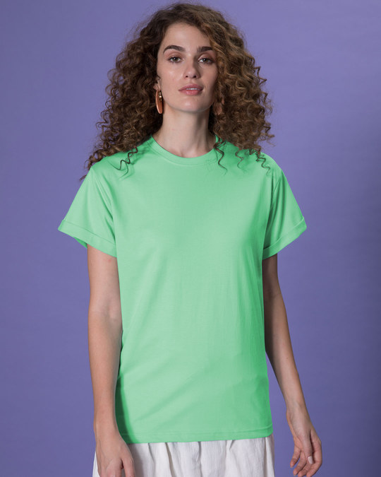 Shop Jade Green Boyfriend T-Shirt-Front