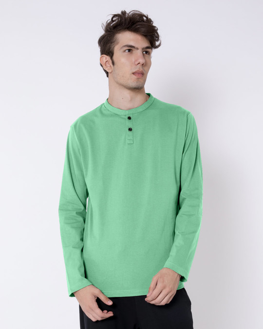 Shop Jade Green Full Sleeve Henley T-Shirt-Front