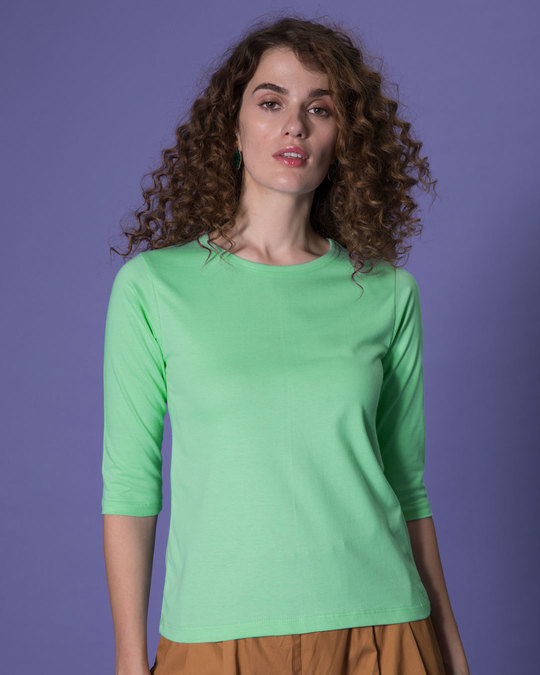 Shop Jade Green Round Neck 3/4th Sleeve T-Shirt-Front