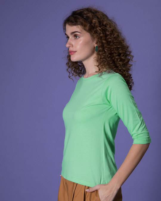Shop Jade Green Round Neck 3/4th Sleeve T-Shirt-Full