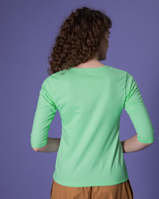 Shop Jade Green Round Neck 3/4th Sleeve T-Shirt