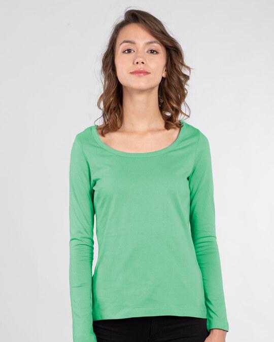 Shop Jade Green Scoop Neck Full Sleeve T-Shirt-Front