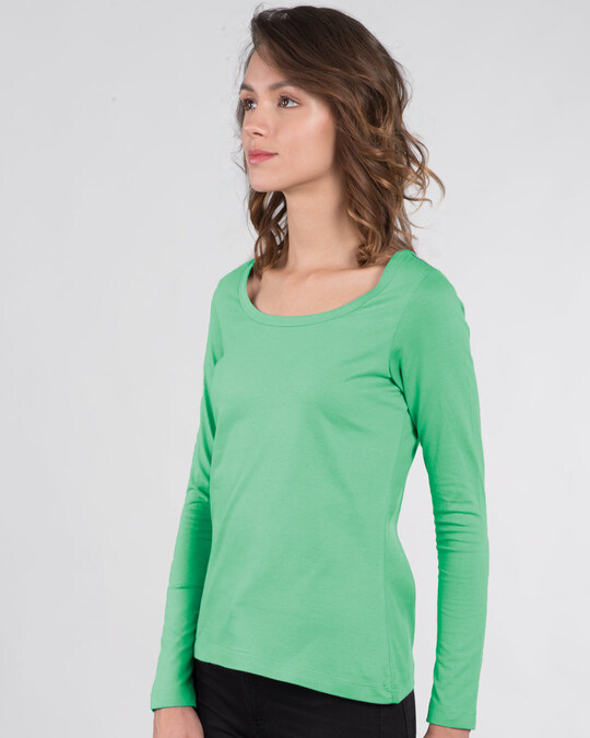 Shop Jade Green Scoop Neck Full Sleeve T-Shirt-Back