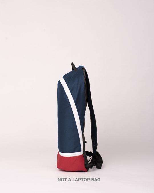 Shop Jajabor Small Backpack Navy Blue-Red-Back