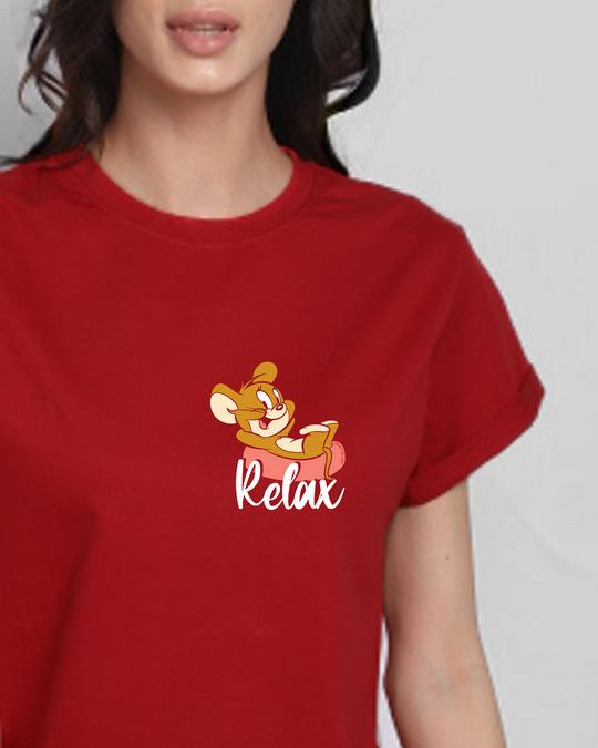 Shop Jerry Relax Boyfriend T-Shirt (TJL) Bold Red-Back