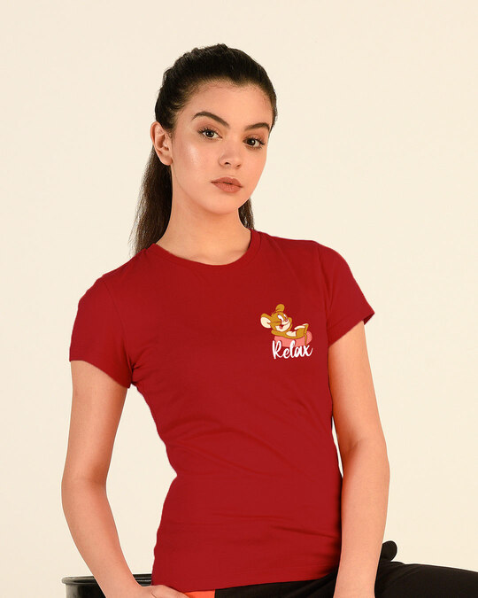 Shop Jerry Relax Half Sleeve Printed T-Shirt (TJL) Bold Red-Front