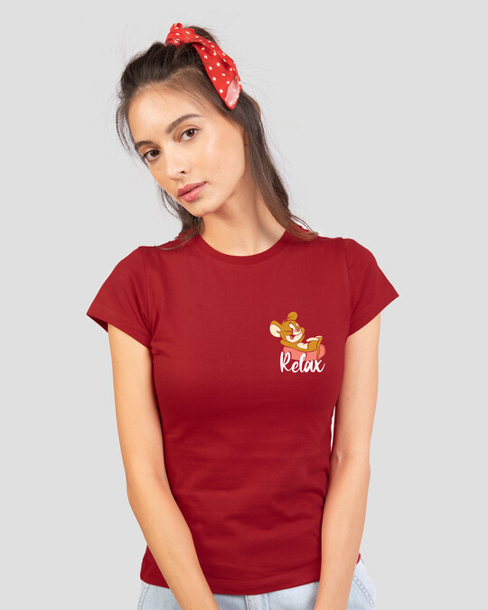 Shop Jerry Relax Half Sleeve Printed T-Shirt (TJL) Bold Red-Design
