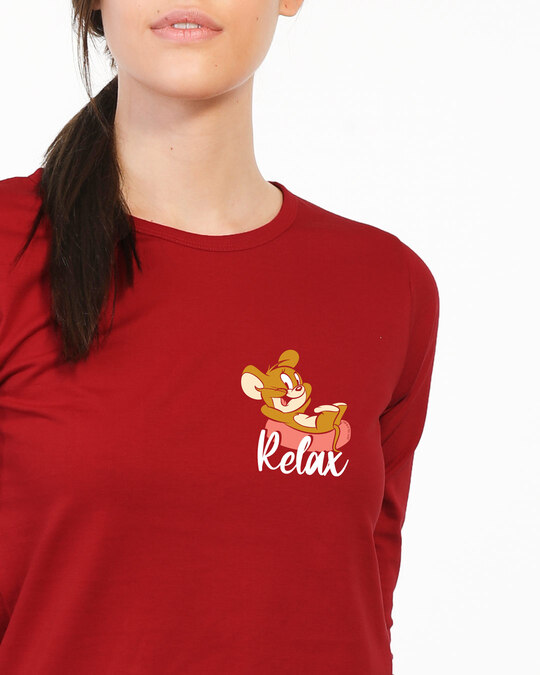 Shop Jerry Relax Round Neck 3/4 Sleeve T-Shirts (TJL) Bold Red-Back