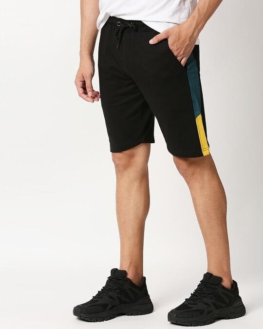 Shop Black-Atlantic Deep-Ceylon Yellow Fashion Cut N Sew Shorts-Front