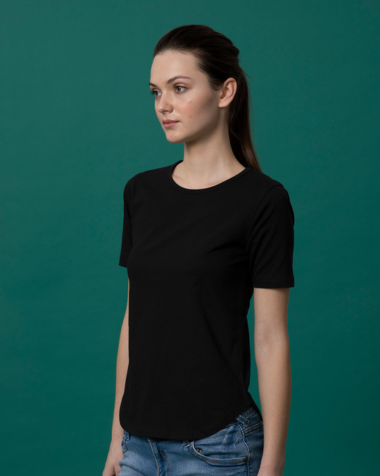 Shop Jet Black Basic Round Hem T-Shirt-Back