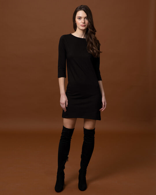 Shop Jet Black Boat Neck 3/4th Sleeve T-Shirt Dress