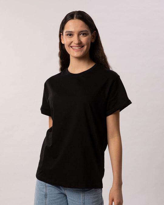 Shop Jet Black Boyfriend T-Shirt-Back