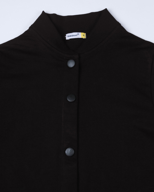 Shop Jet Black Buttoned Bomber Jacket