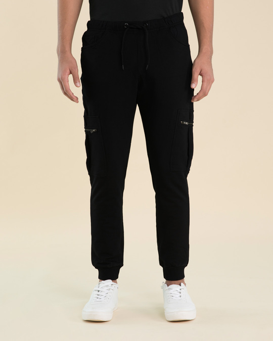 Shop Jet Black Cargo Zipper Fleece Joggers-Back