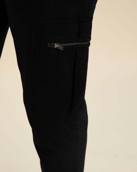Shop Jet Black Cargo Zipper Fleece Joggers