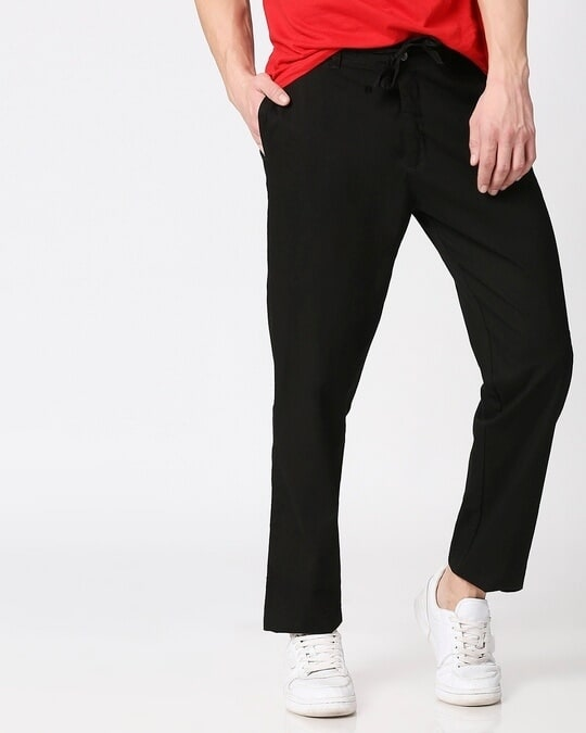 Shop Jet Black Casual Cotton Pants-Front