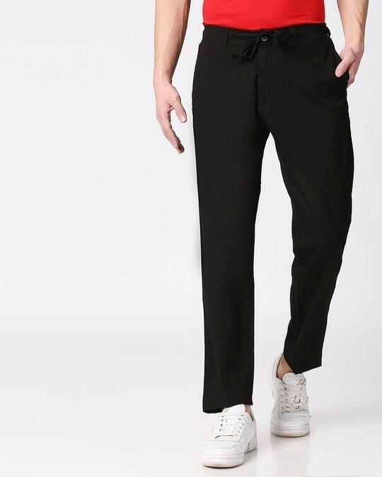 Shop Jet Black Casual Cotton Pants-Back