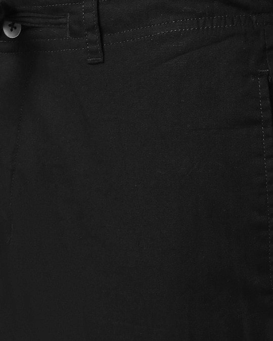 Shop Jet Black Casual Cotton Pants