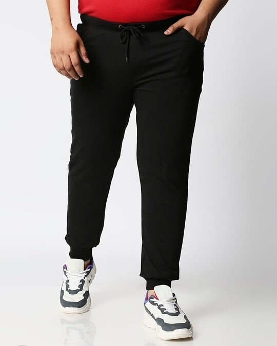 Shop Jet Black Plus Size Casual Jogger Pants-Front