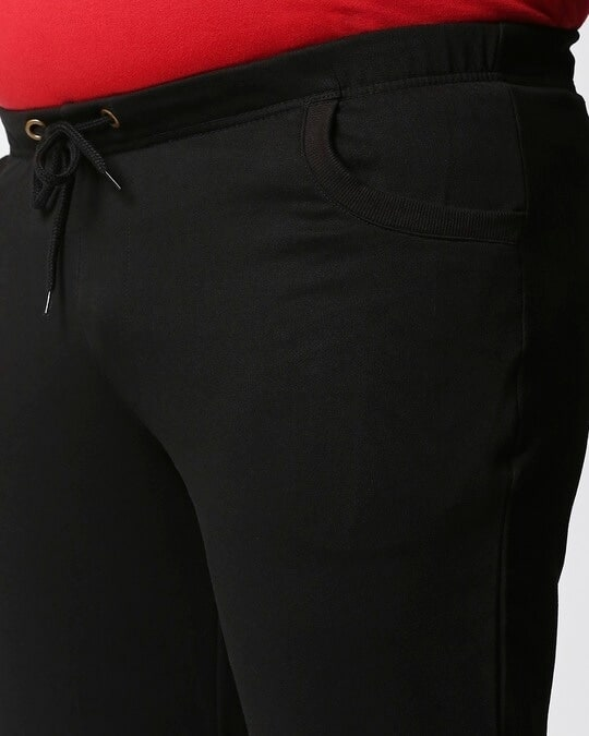 Shop Jet Black Plus Size Casual Jogger Pants