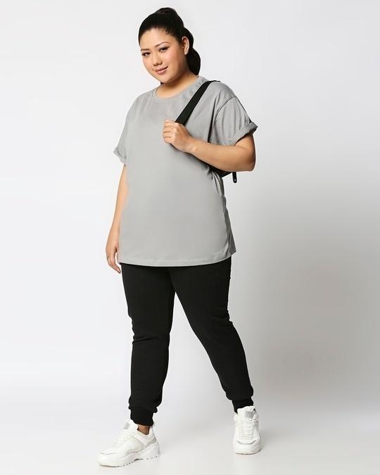 Shop Jet Black Plus Size Casual Jogger Pants-Full