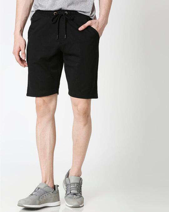 Shop Jet Black Casual Shorts-Front