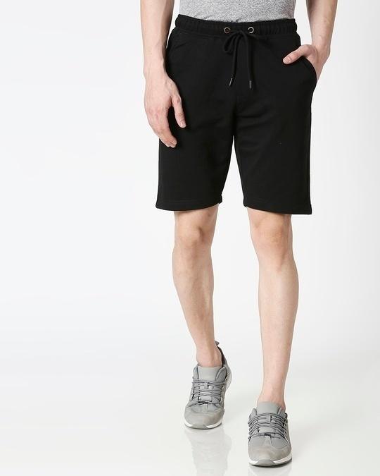 Shop Jet Black Casual Shorts-Back