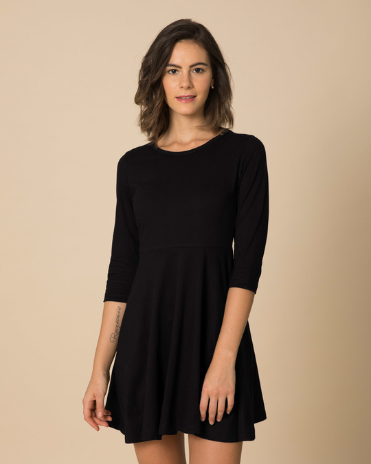 Shop Jet Black Flared Dress-Back