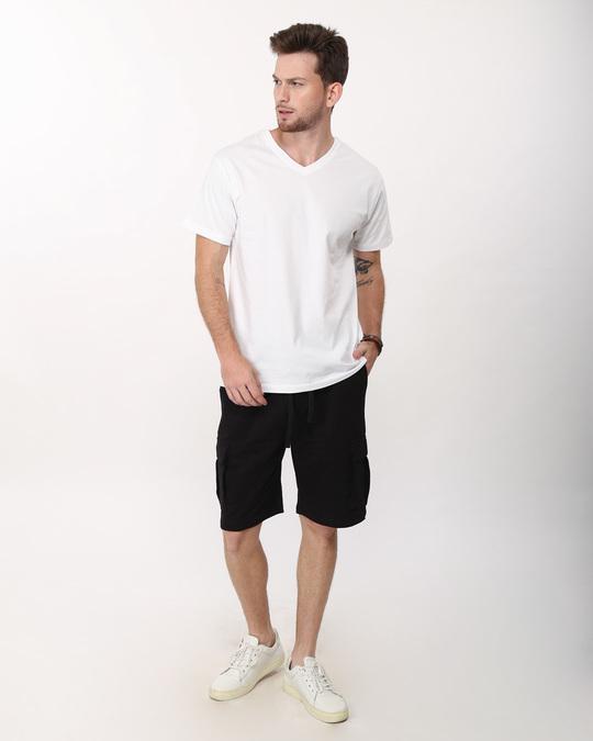 Shop Jet Black  Fleece Cargo Pocket Shorts-Full