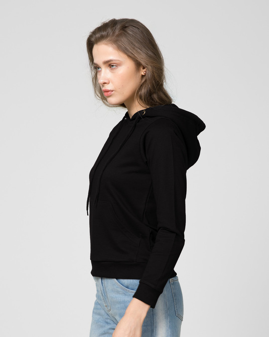 Shop Jet Black Fleece Hoodies-Back