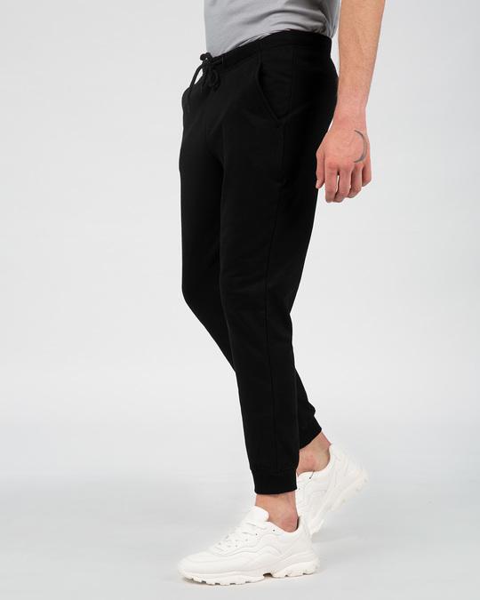 Shop Jet Black Fleece Joggers-Back