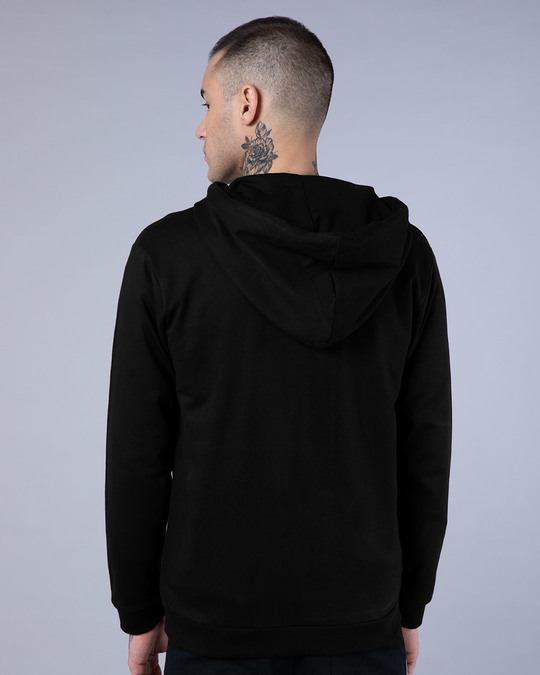 Shop Jet Black Fleece Zipper Hoodies-Design